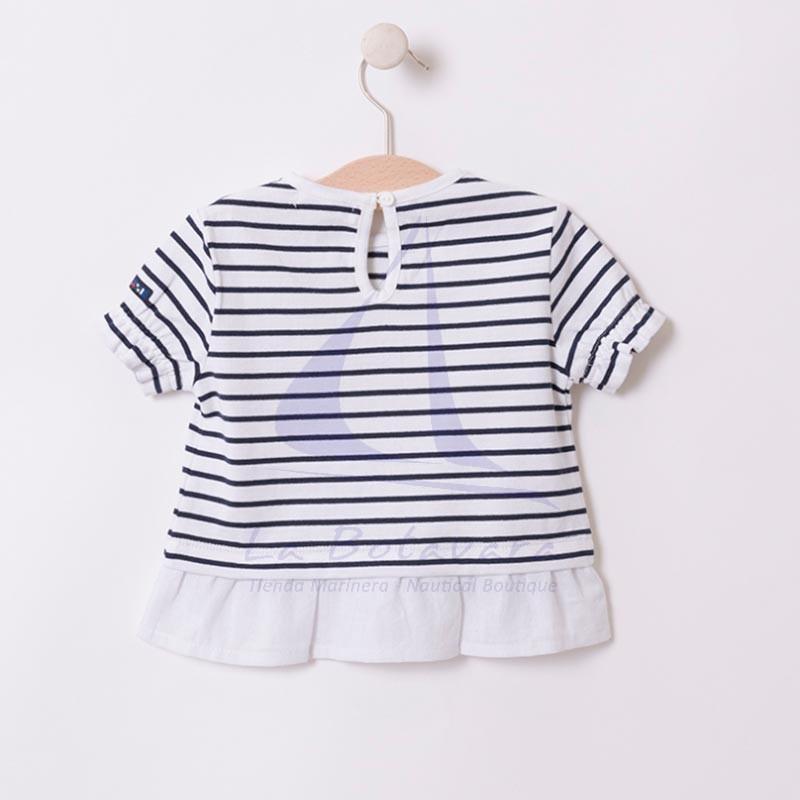 Camiseta Batela de bebe con volantes blanco y azul marino 2