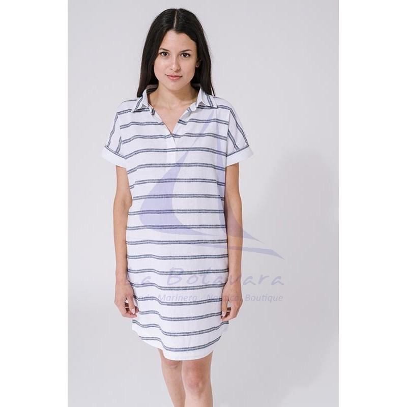 White & grey Batela women's linen dress