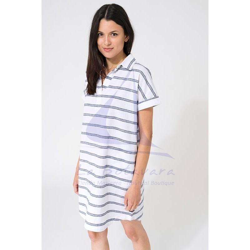 Vestido Batela de mujer de lino blanco y gris 2