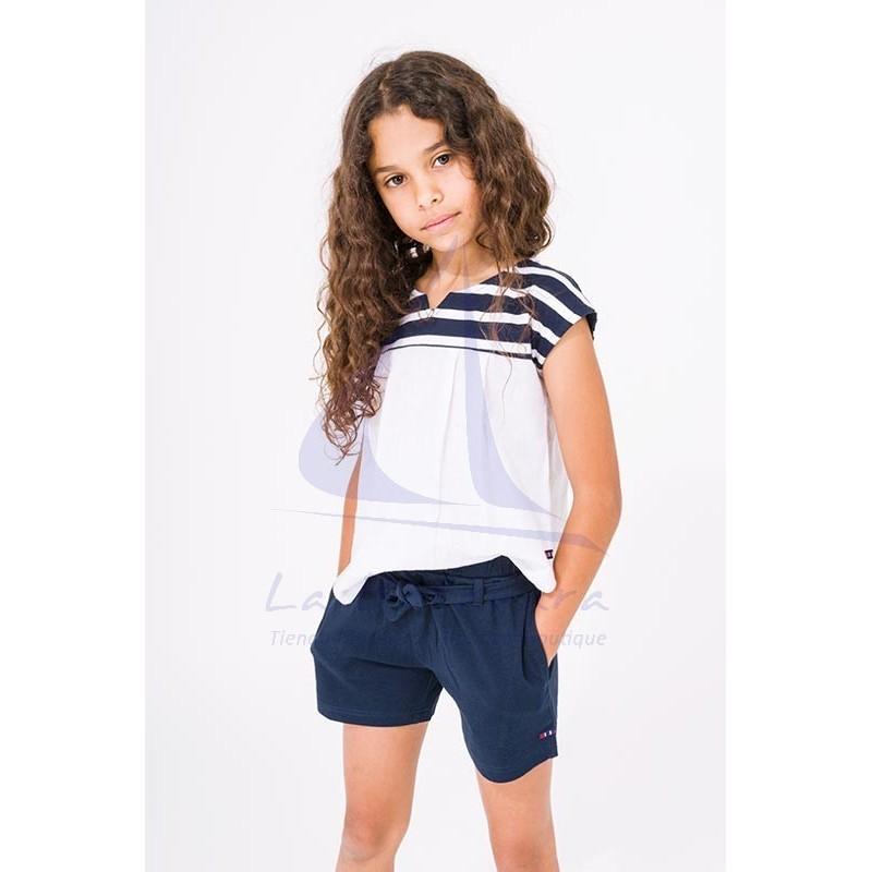 Camiseta Batela de niña a rayas con franja blanca