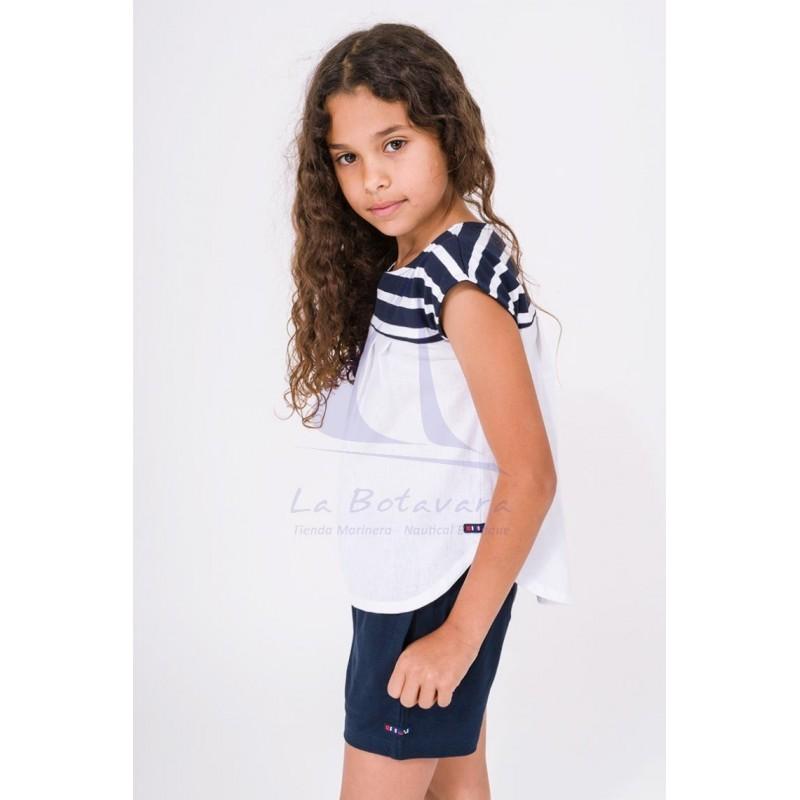 Camiseta Batela de niña a rayas con franja blanca 2