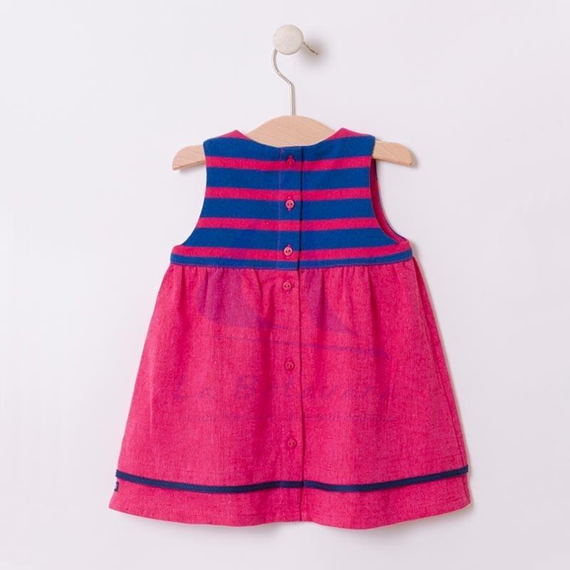 Vestido Batela de bebe con una franja de rayas azul atlantic y rosa hibisco 2