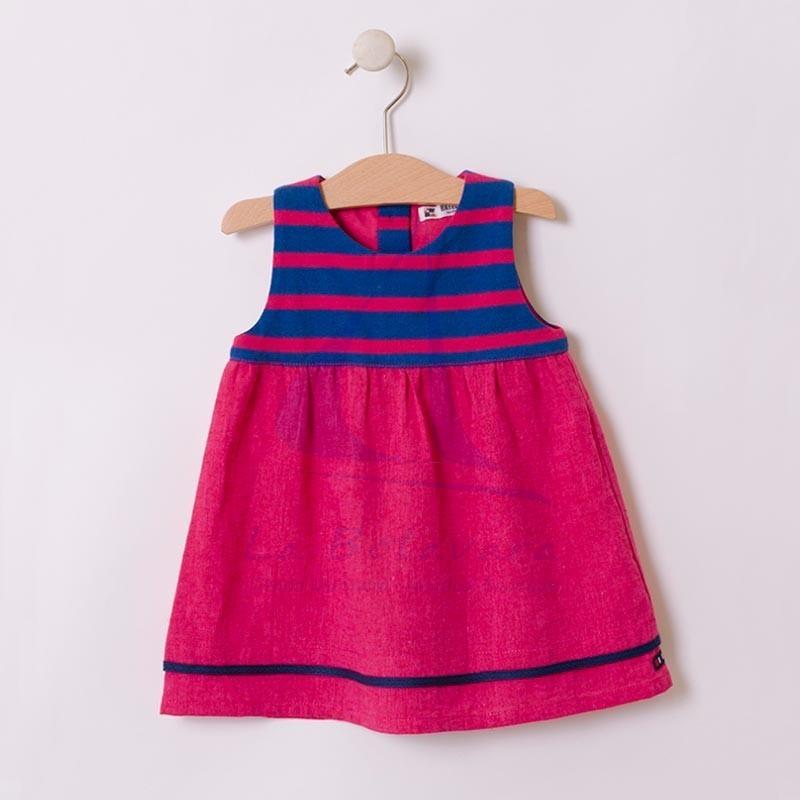 Vestido Batela de bebe con una franja de rayas azul atlantic y rosa hibisco