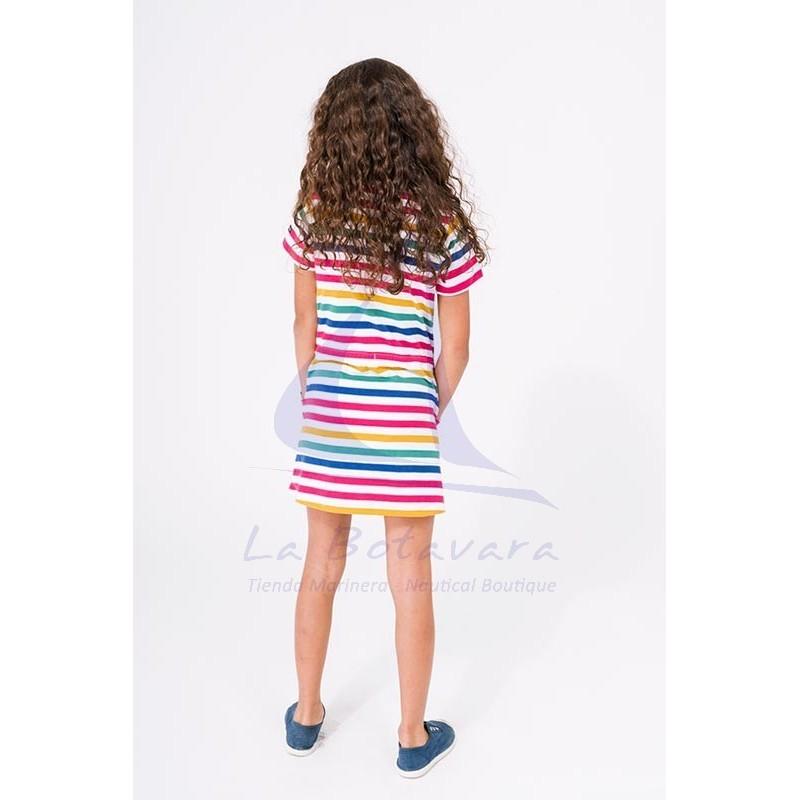 Vestido Batela de niña de manga corta a rayas 2