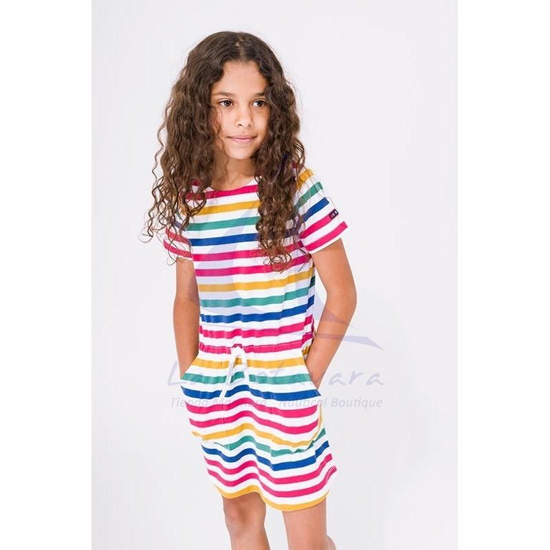 Vestido Batela de niña de manga corta a rayas