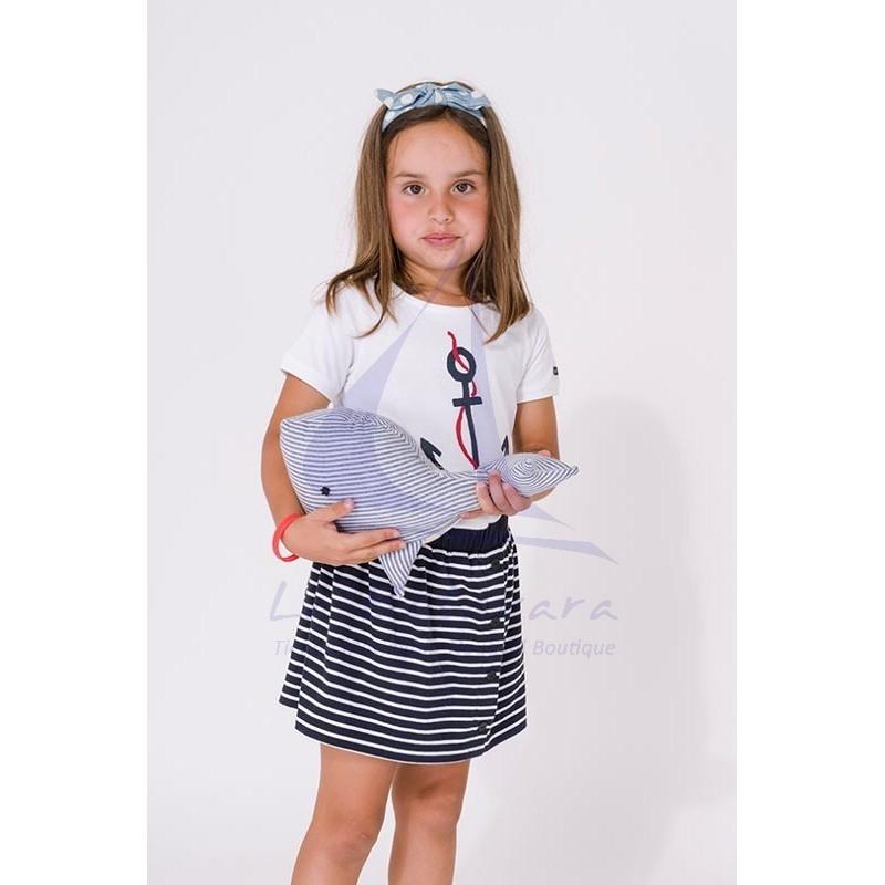 Conjunto Batela de niña de camiseta con ancla y falda de rayas 2