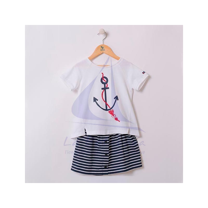 Anchor Batela T-shirt & striped skirt for girl