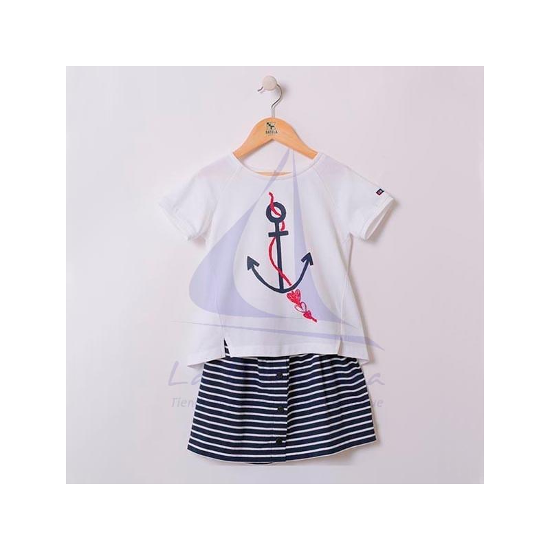 Conjunto Batela de niña de camiseta con ancla y falda de rayas