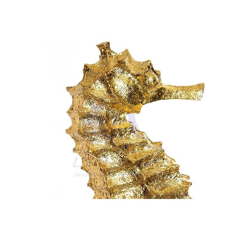 Figura caballito de mar dorado con pie de resina 2