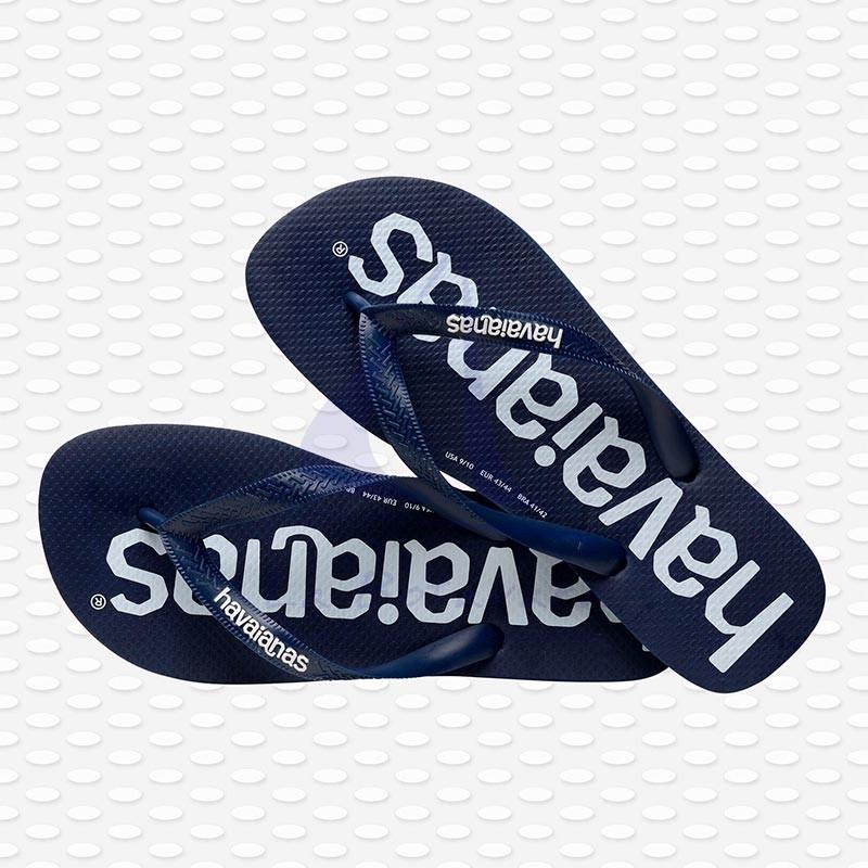 Navy blue Havaianas Logomania flip flops 5