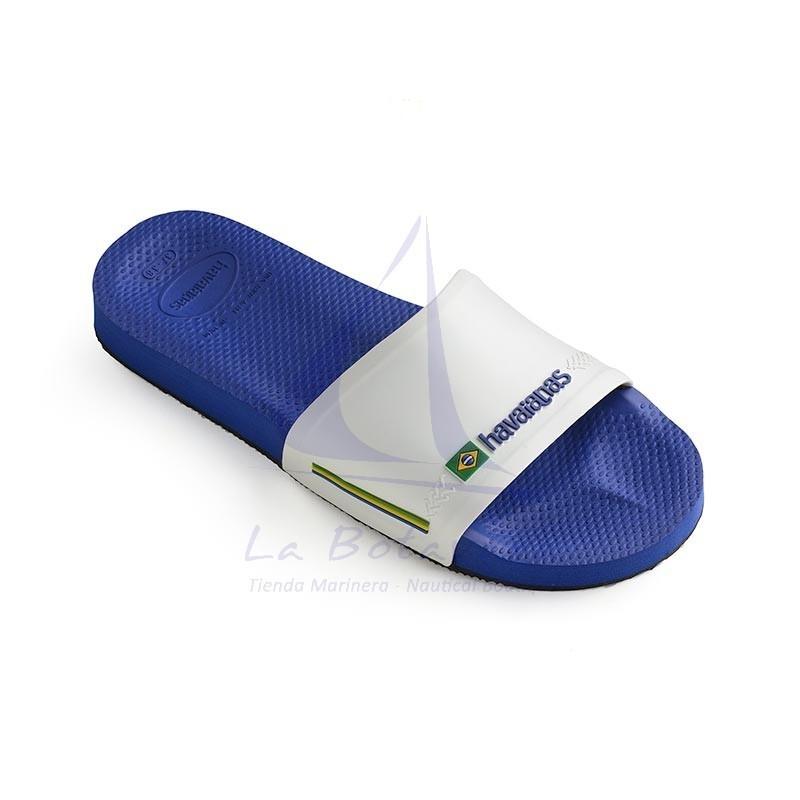 Blue & white Havaianas slide wide strap flip flops 2