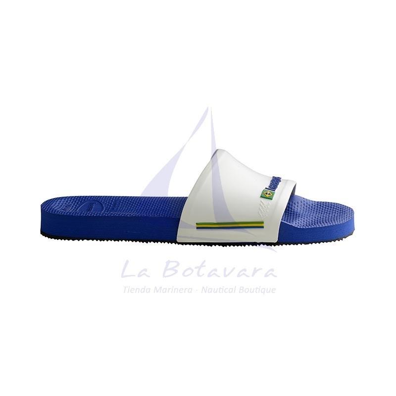 Chanclas Havaianas slide de banda ancha azul y blanca 3