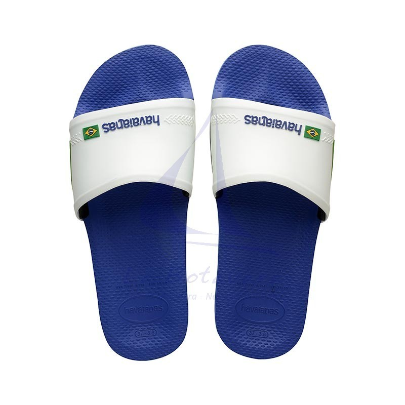 Blue & white Havaianas slide wide strap flip flops