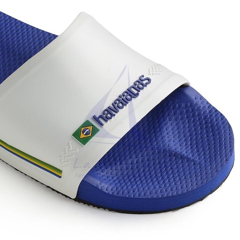 Blue & white Havaianas slide wide strap flip flops 5