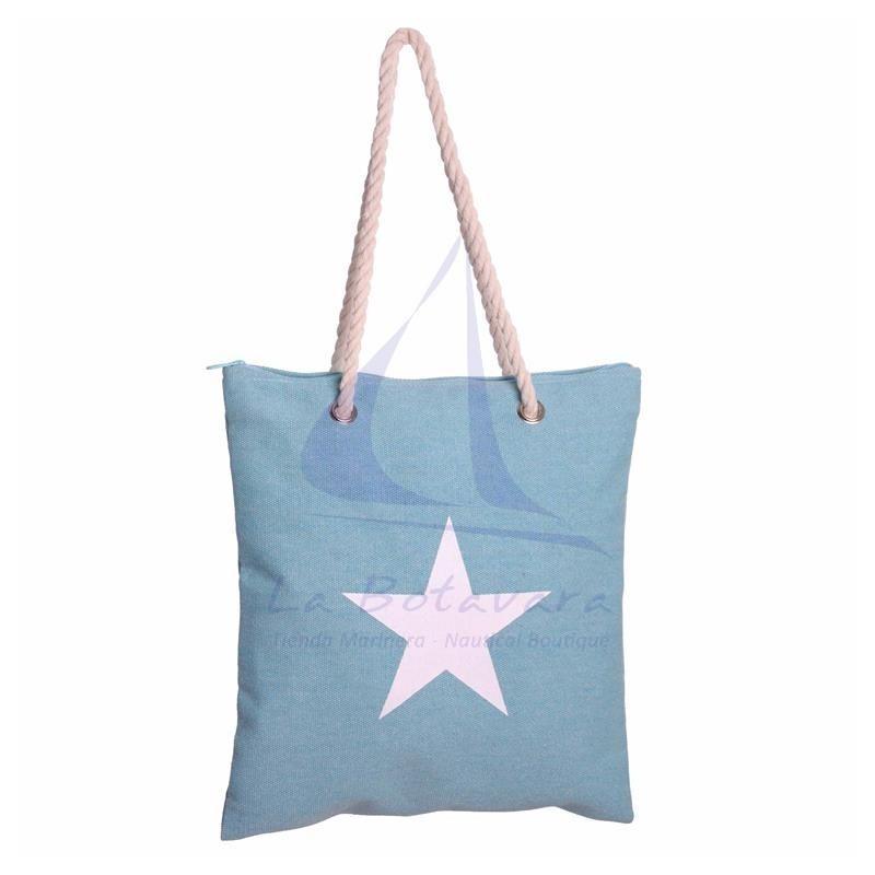 Bolso de lona con estrella celeste