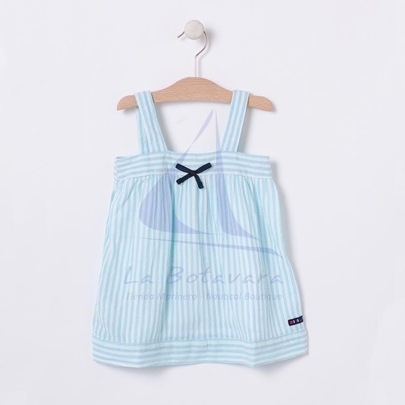 Vestido Batela de bebe blanco y azul seaglass con tirantes 2