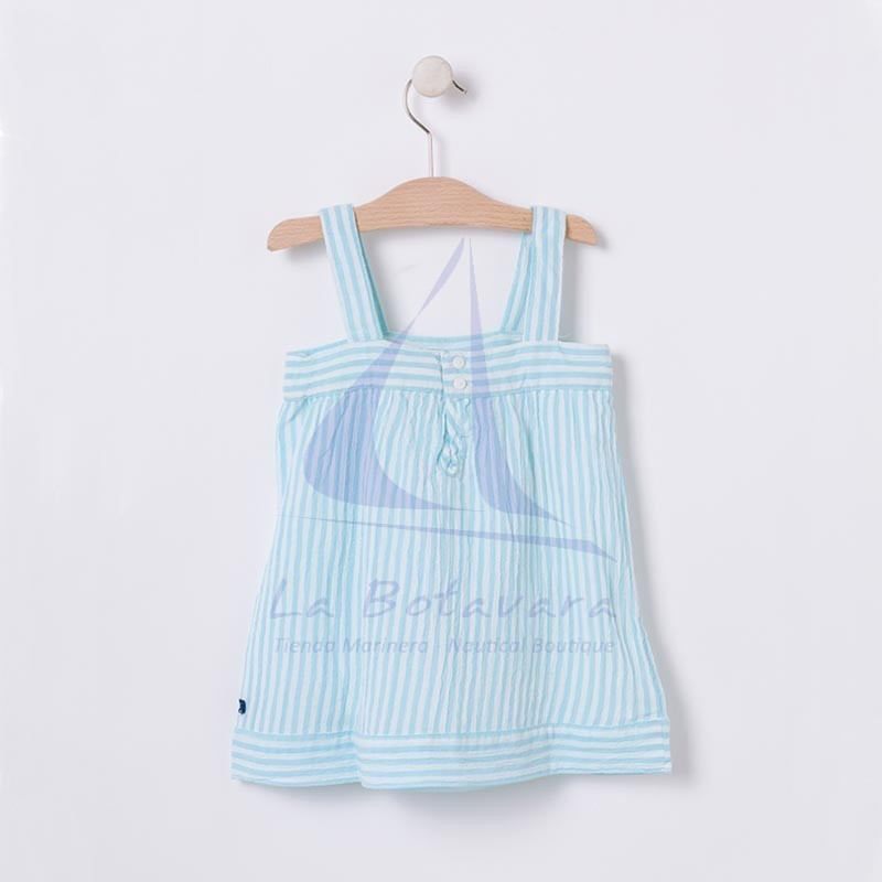 White & seaglass blue Batela baby dress with straps 3