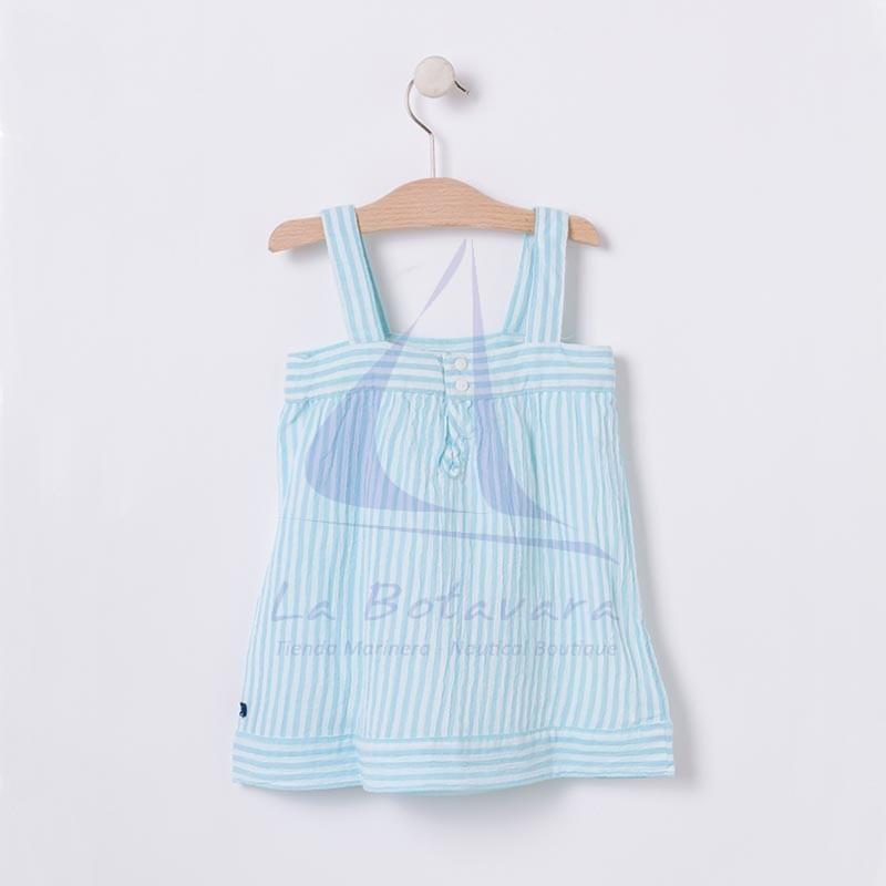 Vestido Batela de bebe blanco y azul seaglass con tirantes 3