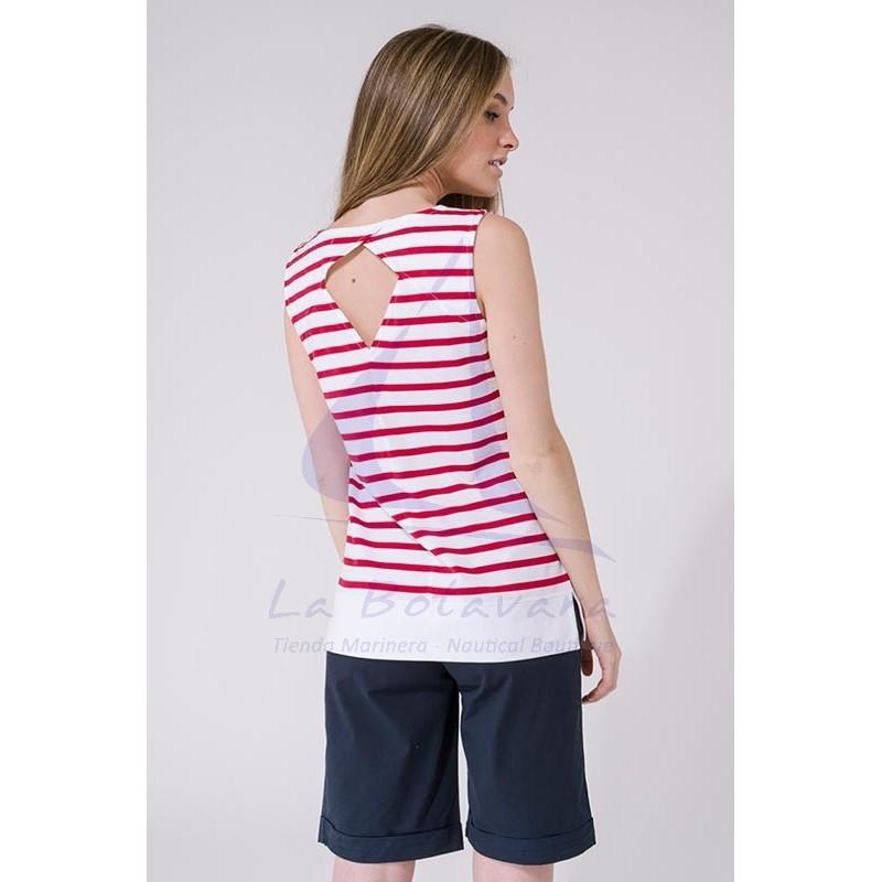 Camiseta Batela sin mangas con hueco en la espalda blanca y roja 2