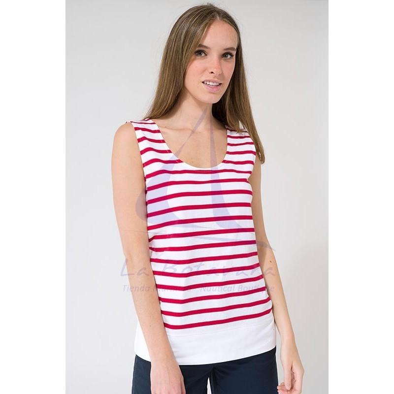 Camiseta Batela sin mangas con hueco en la espalda blanca y roja 3