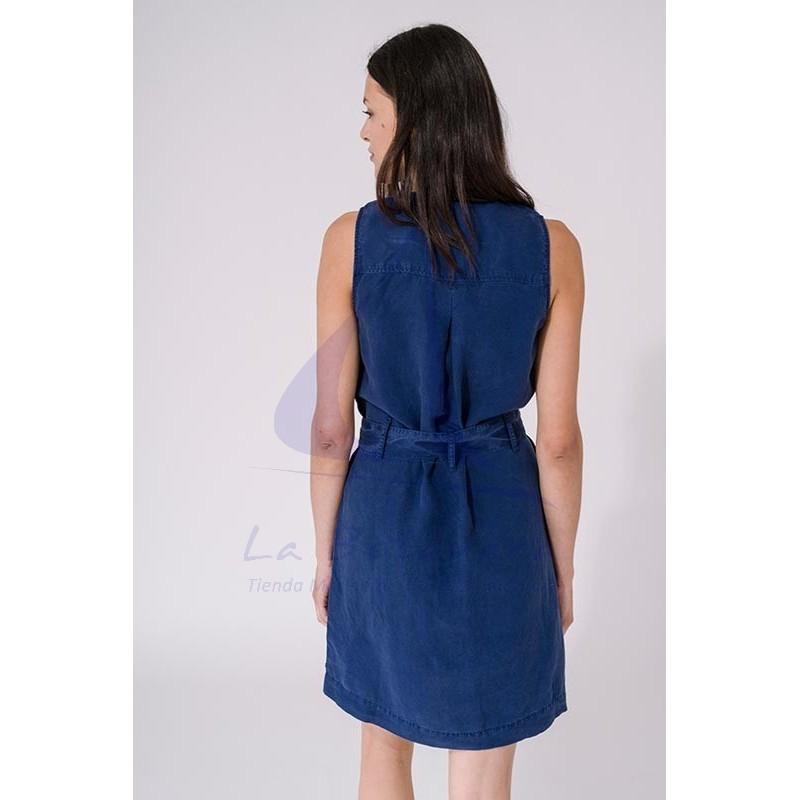 Vestido Batela de mujer liso sin mangas con cinturón azul ink 3