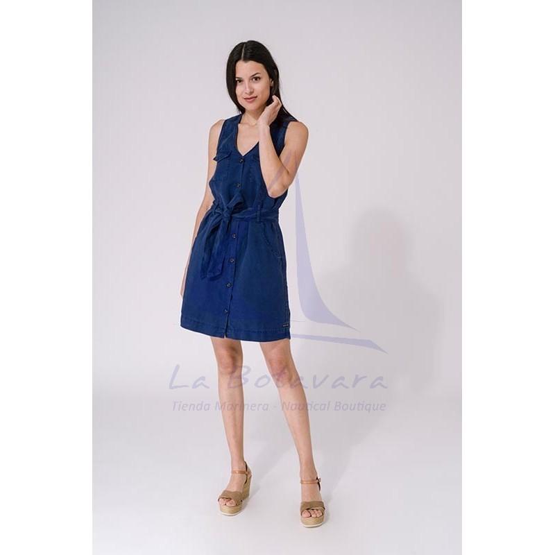 Vestido Batela de mujer liso sin mangas con cinturón azul ink 4