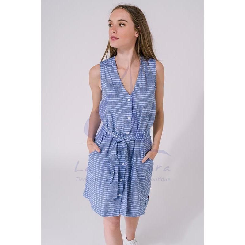 Ultramarine blue & white linen Women's Batela Sleeveless Dress