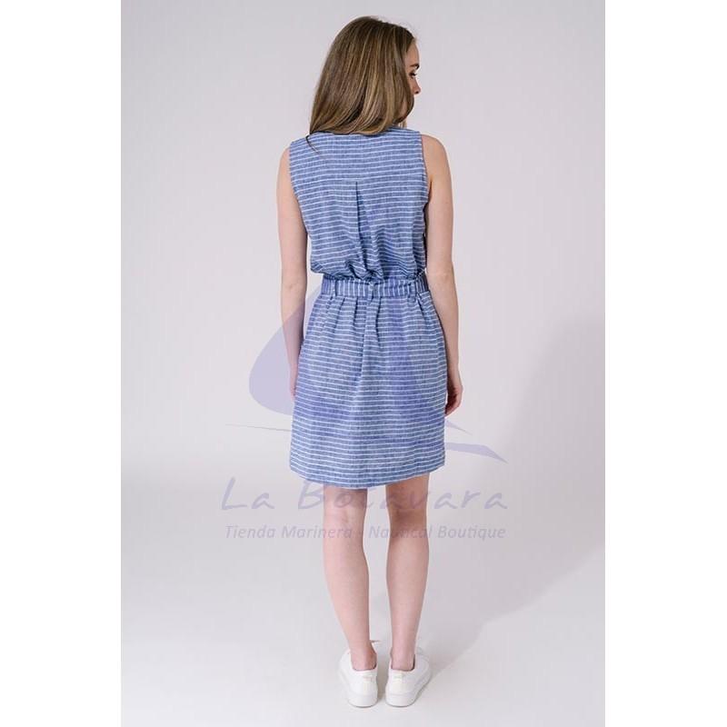 Vestido Batela de mujer sin mangas de lino ultramar y blanco 2
