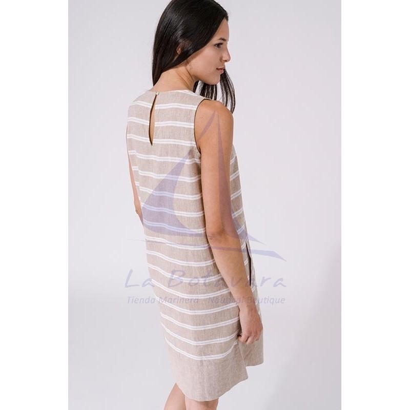 Vestido Batela de mujer de lino sin mangas a2269 beige 3