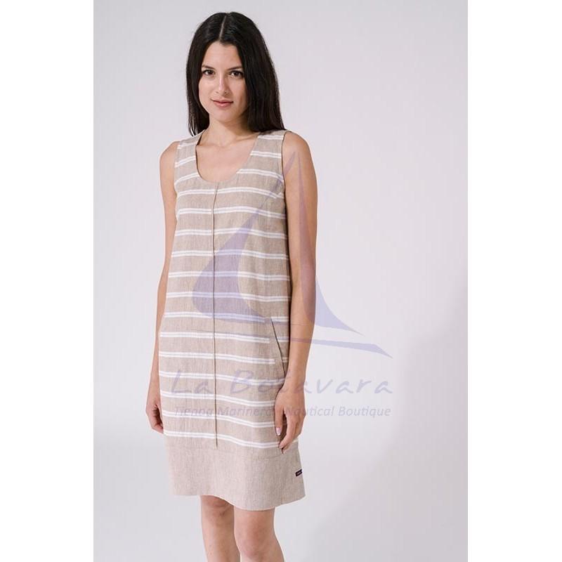 Vestido Batela de mujer de lino sin mangas a2269 beige 2