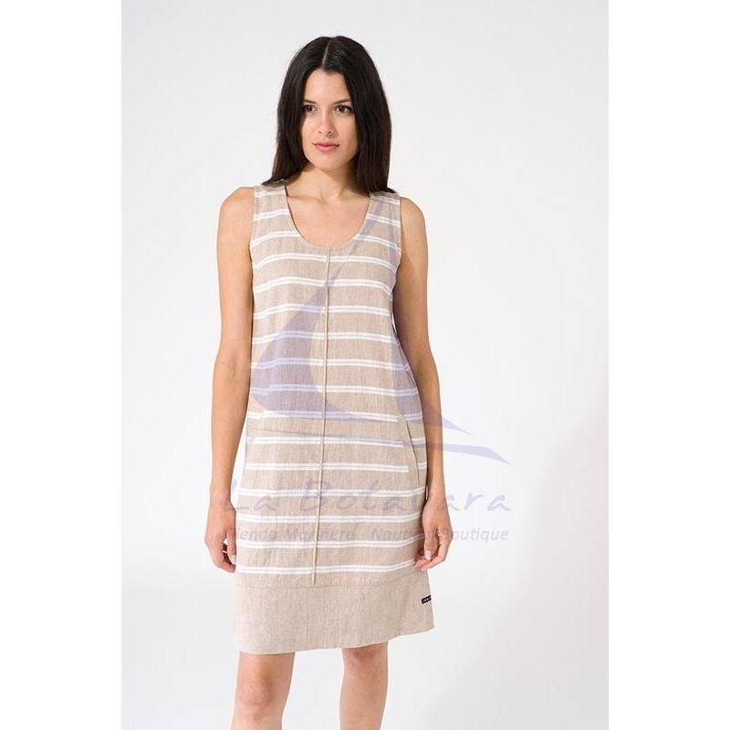 Vestido Batela de mujer de lino sin mangas a2269 beige