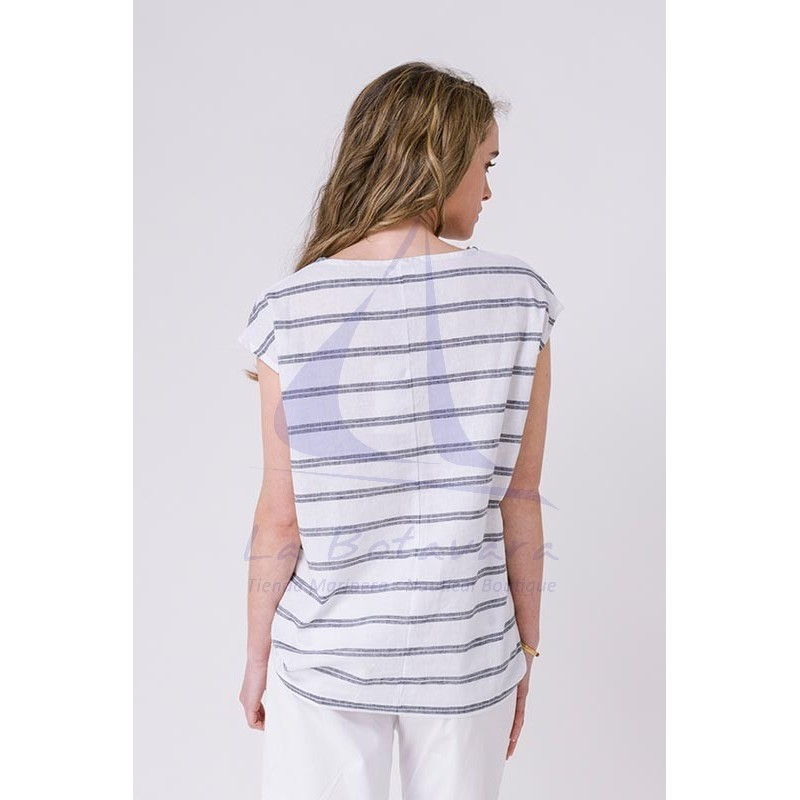 Striped linen and cotton Batela blouse for women A2265 white & grey 2