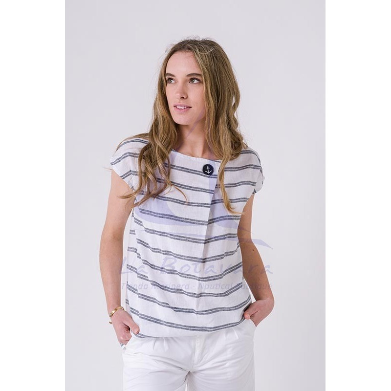 Striped linen and cotton Batela blouse for women A2265 white & grey