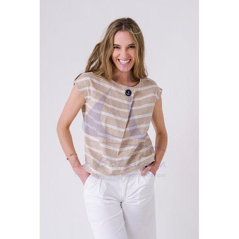 Blusa Batela de mujer de lino y algodón a rayas A2265 beige y blanca