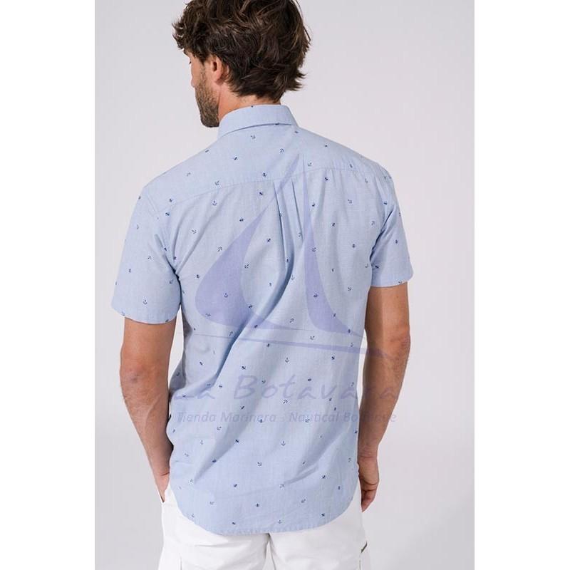 Camisa Batela de hombre de manga corta con estampado náutico a2312 anclas 2