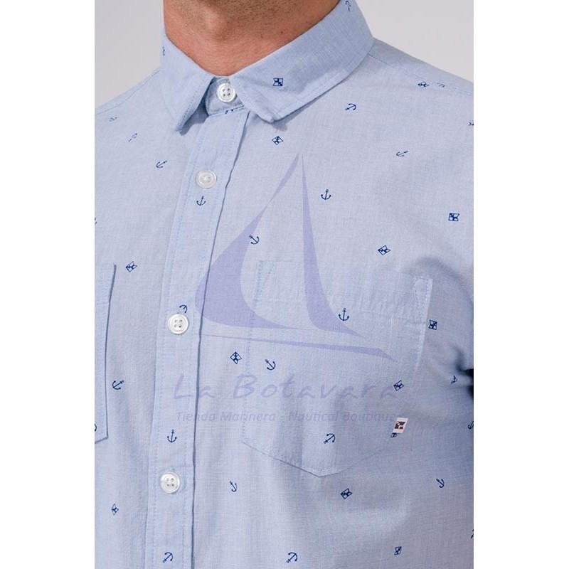 Batela men's short-sleeved shirt with nautical print a2312 anchors 3