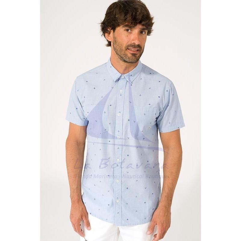 Camisa Batela de hombre de manga corta con estampado náutico a2312 anclas