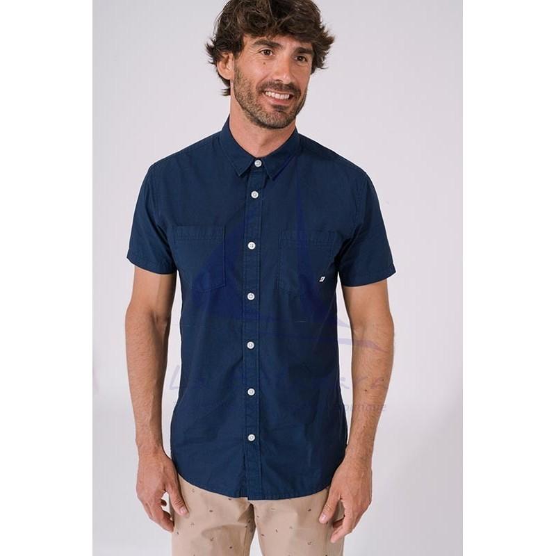 Camisa Batela de hombre de manga corta azul marino A2312