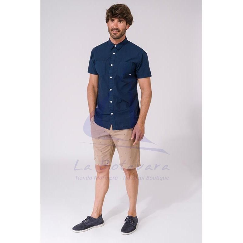 Camisa Batela de hombre de manga corta azul marino A2312 2
