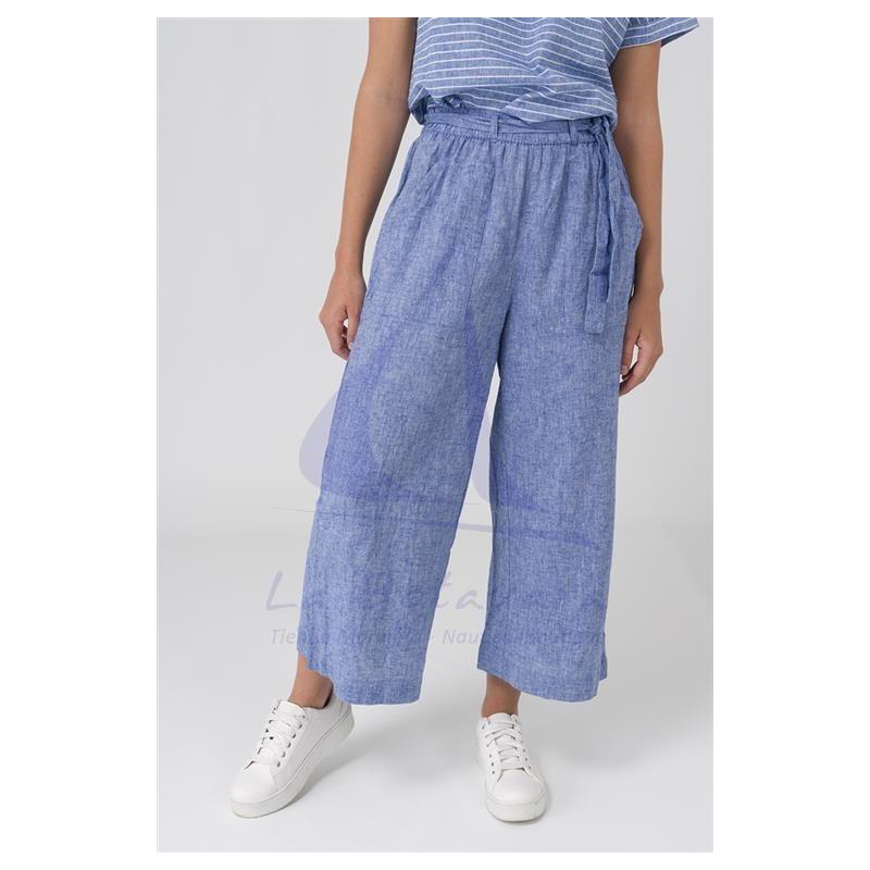 Ultramarine blue linen Batela crop trousers for woman A2154