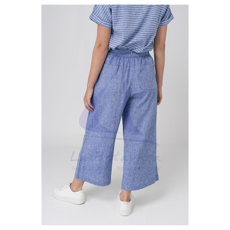 Ultramarine blue linen Batela crop trousers for woman A2154 2