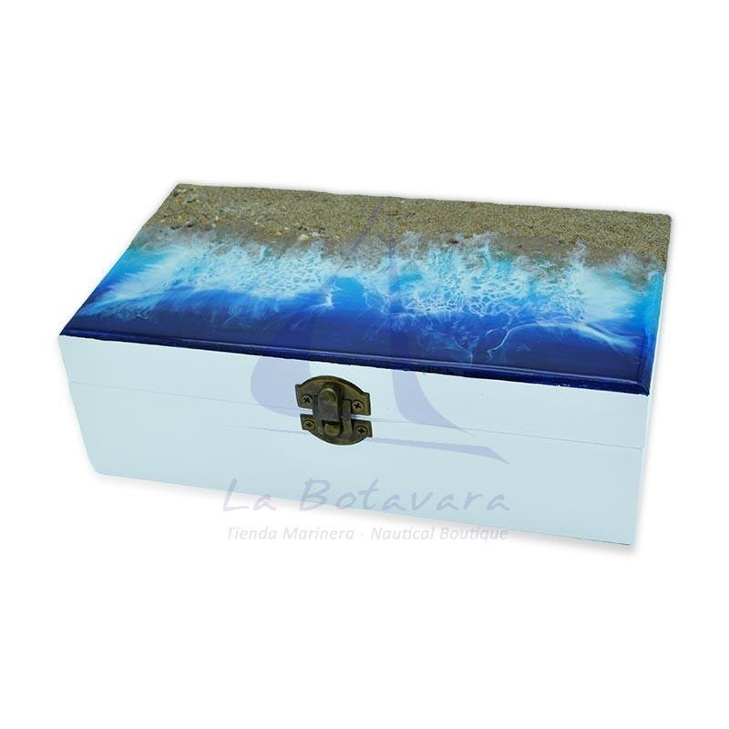 Caja con playa y olas de resina epoxi de 22x12cm