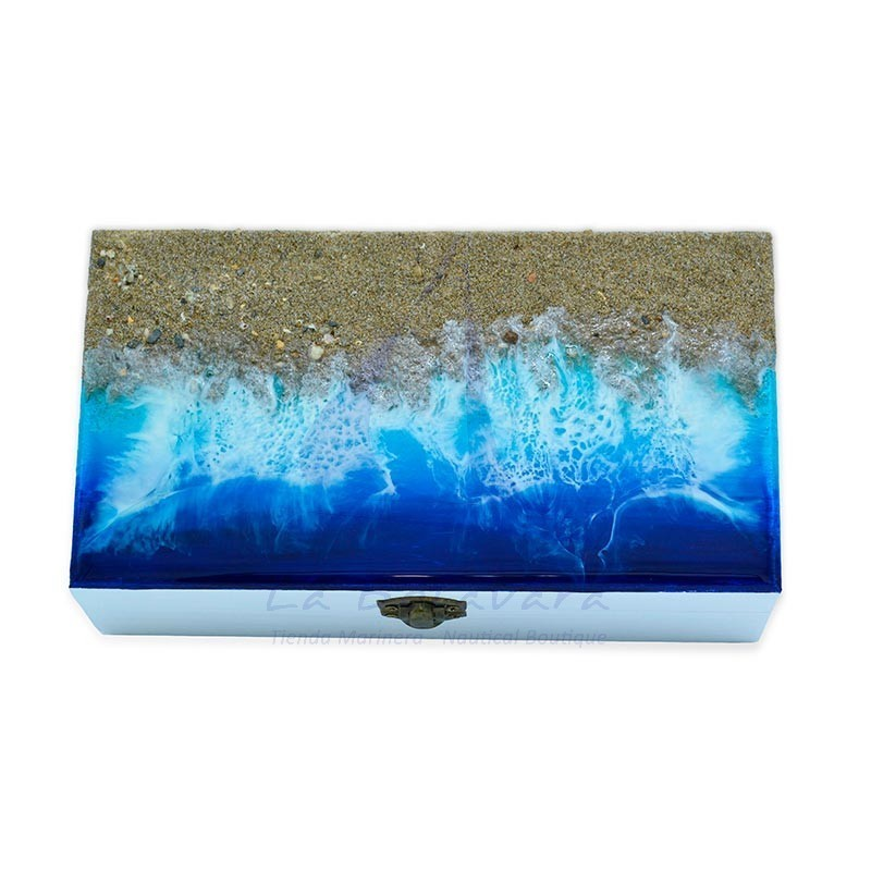 22x12cm box with beach sand and waves of epoxy resin 2