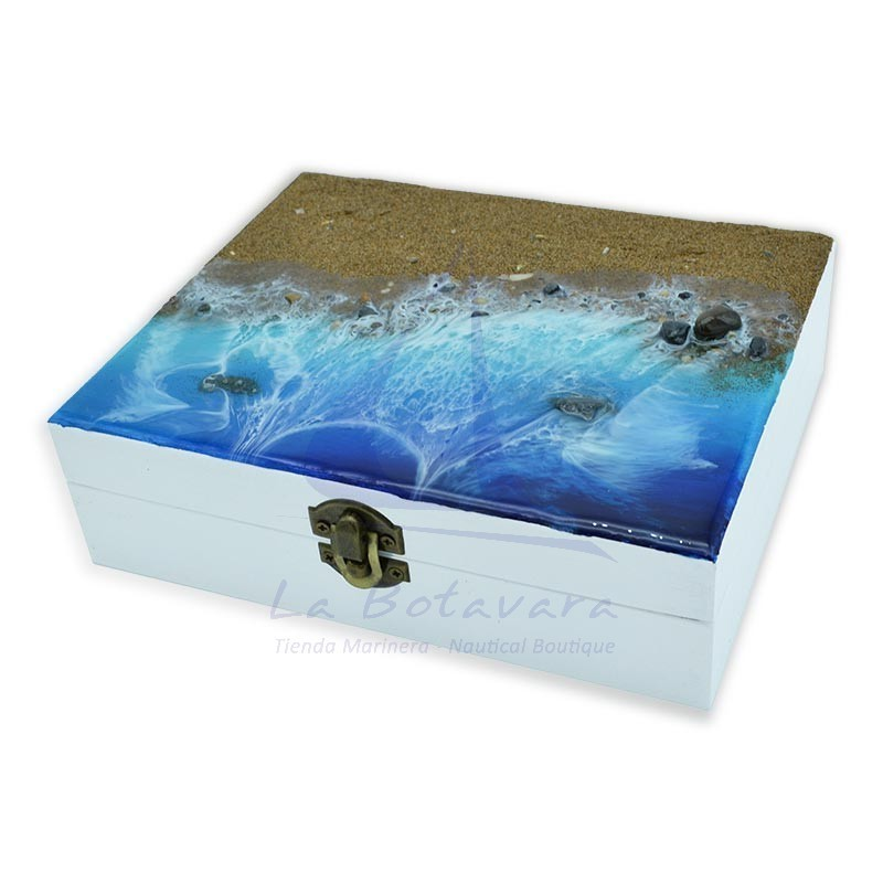19.5x16cm box with beach sand and waves of epoxy resin