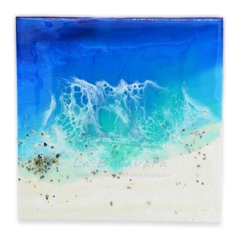Cuadro hecho mano de resina epoxi de 20x20cm con olas y playa tropical