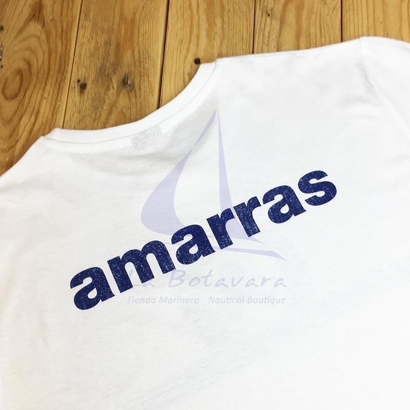 Camiseta Amarras unisex Reacher blanca con nudo azul 2