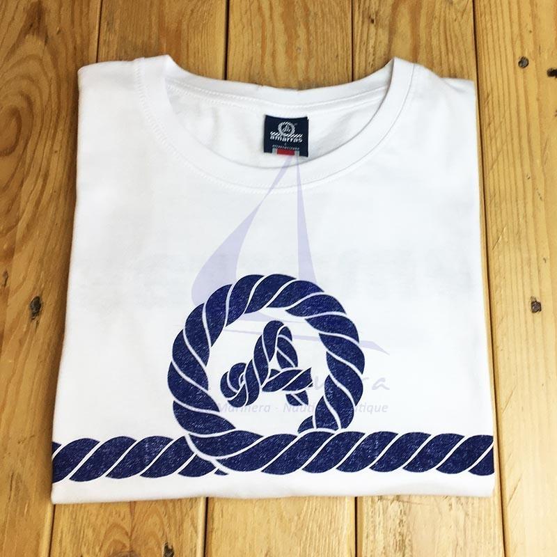 White Amarras Reacher unisex t-shirt with blue knot