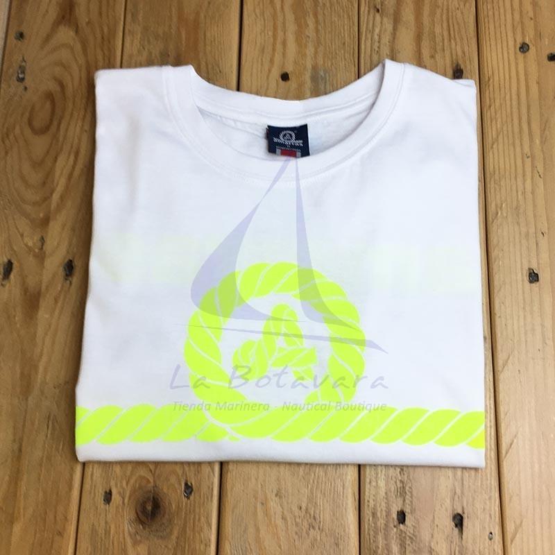 White Amarras Genova unisex t-shirt with fluor yellow knot