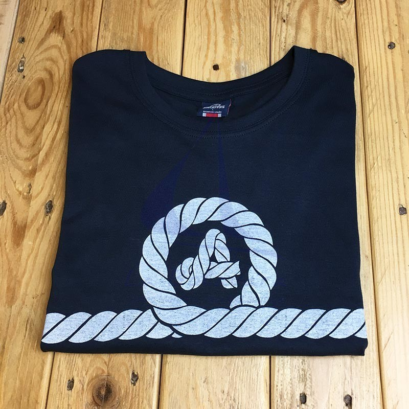 Camiseta Amarras unisex Runner azul marino con nudo blanco roto