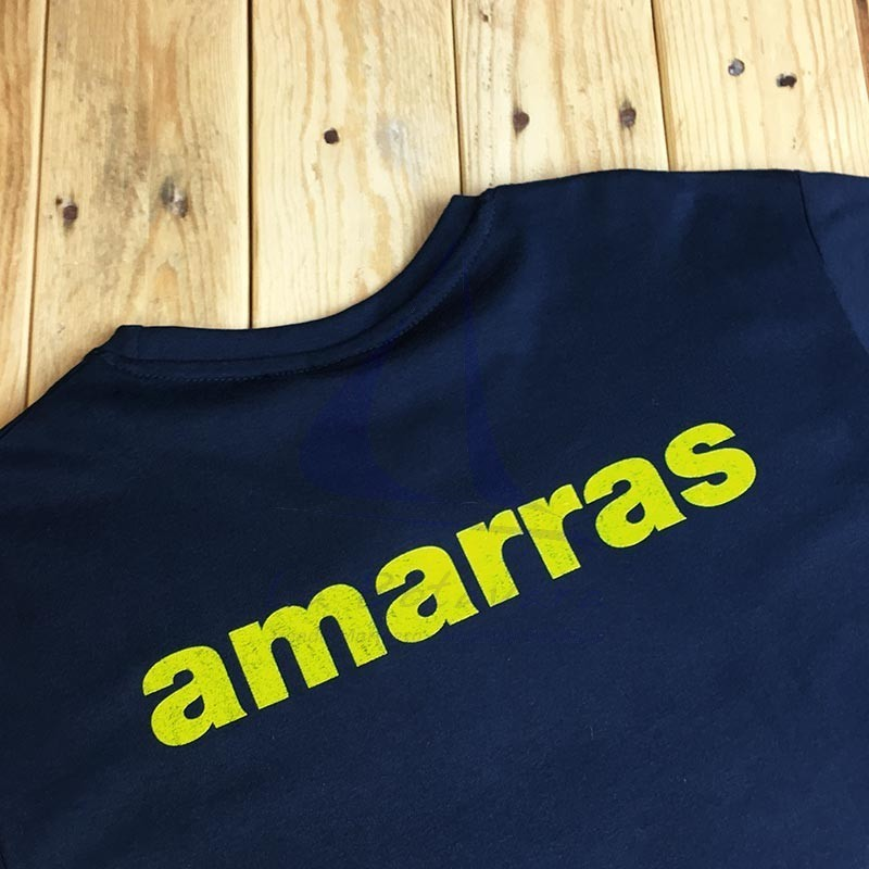 Navy blue Amarras Yankee unisex t-shirt with yellow knot 2